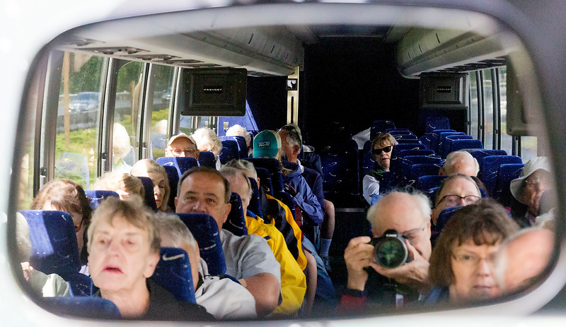 Here we all are, in the rear view mirror of our bus.