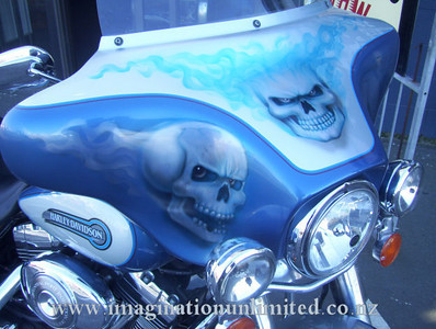 Skull and flame Harley Fairing