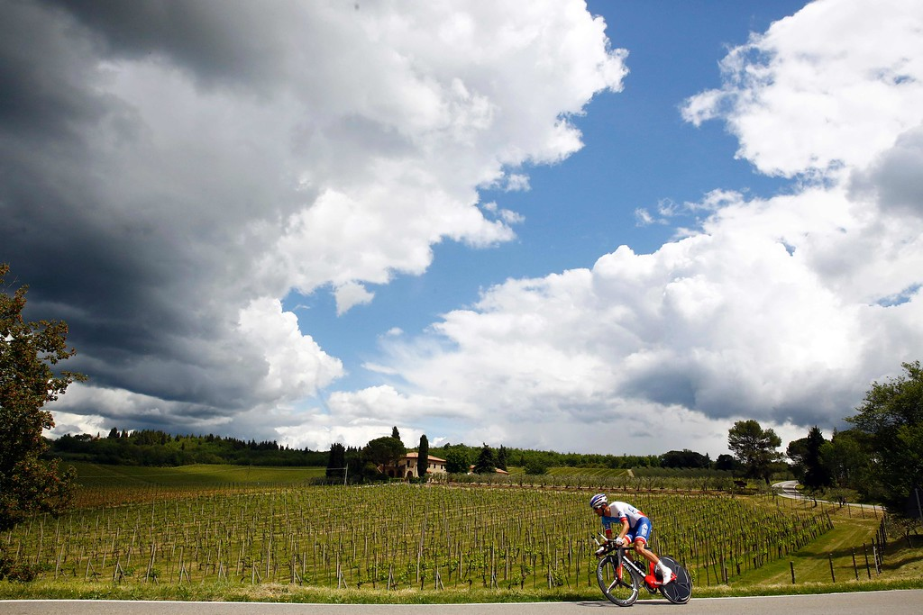 . French cyclist Benoit Vaugrenard of FDJ team cycles during the 9th individual time trial stage of 99th Giro d\'Italia, Tour of Italy, from Radda in Chianti to Greve in Chianti of 40,5 km on May 15, 2016 in Greve in Chianti. LUK BENIES/AFP/Getty Images