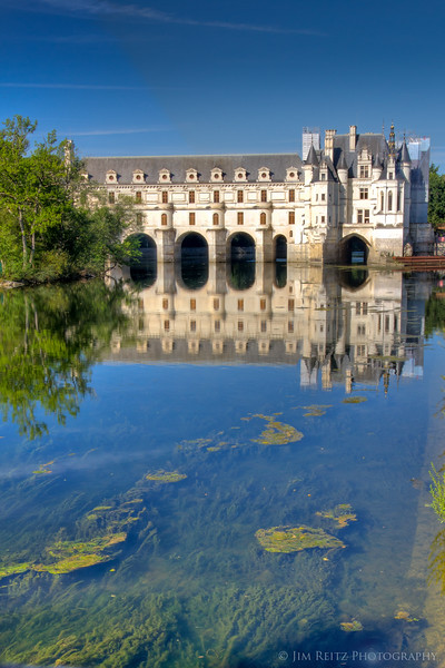 View of Chateau Chenonceau, looking up the Cher River.