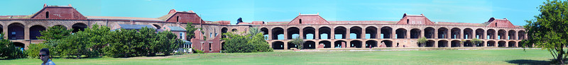 Panorama view of the inside of Fort Jefferson.  Notice that the outer walls of the upper gallery are all unfinished.