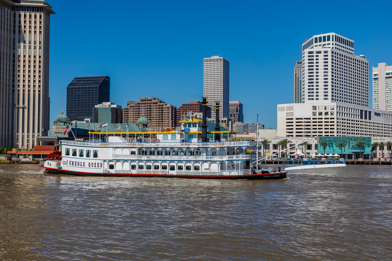 The Mississippi Riverboat and the New Orleans Skyline
