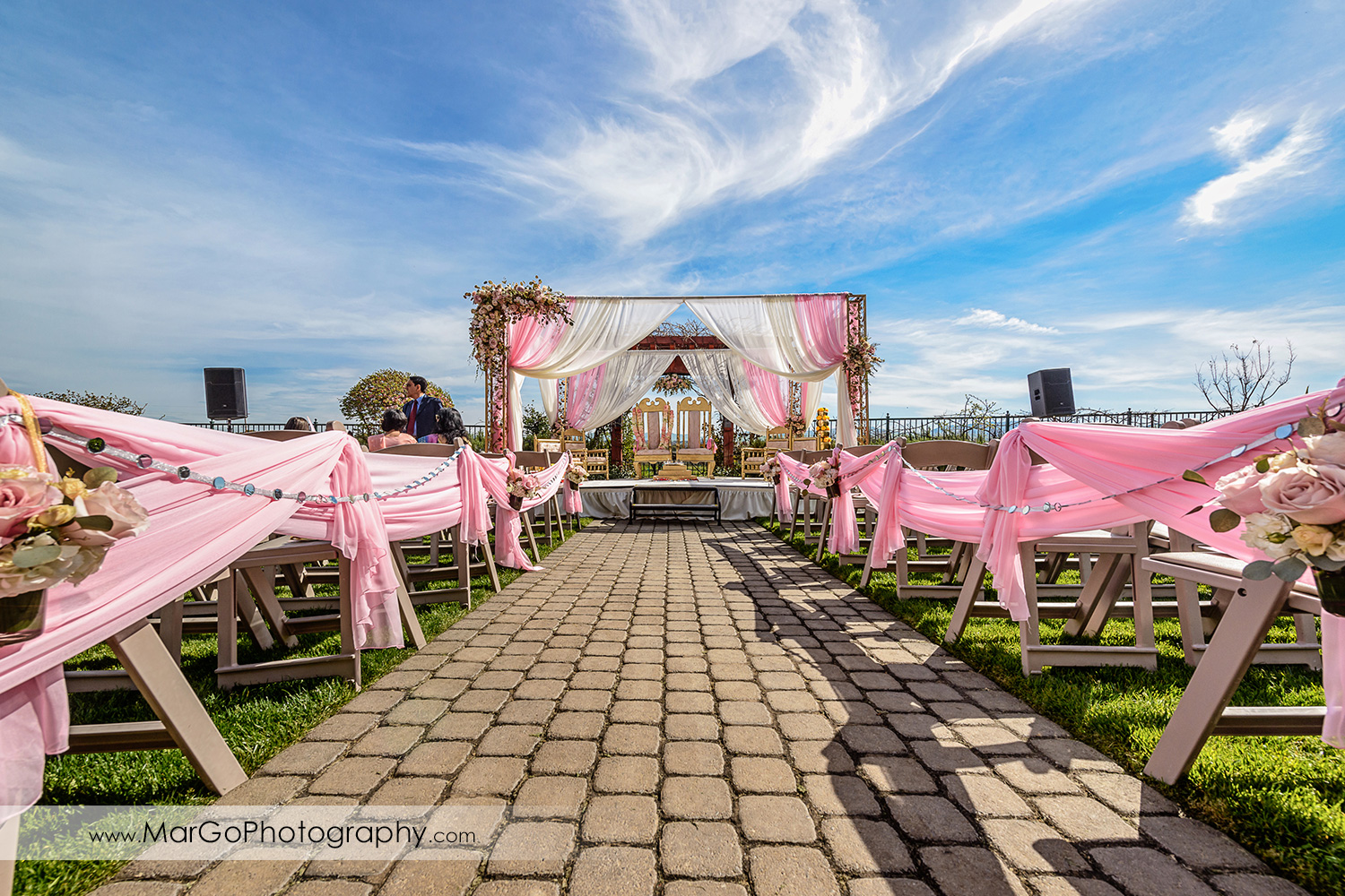 hindu wedding ceremony site at Palm Event Center in the Vineyard in Pleasanton