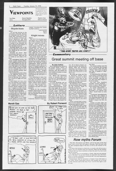 Daily Trojan, Vol. 72, No. 61, January 10, 1978
