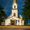 Countryside Church with Rainbow