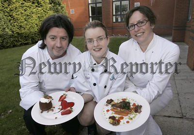 Champion schoolchef 2006. Pictured with Judges Michael Deane and Alison Crothers is Overall winner Jayne Wier of Down High School. 06W7N6