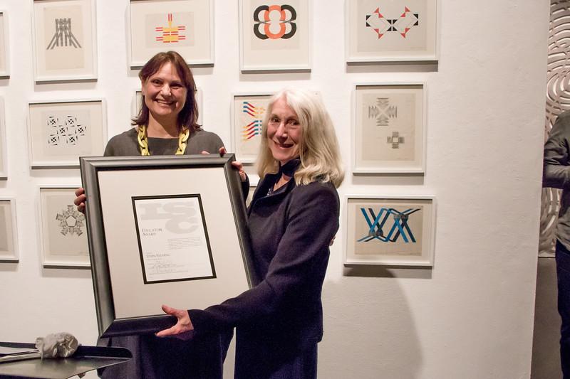 Johannah Hutchison presenting Outstanding Educator Award to Linda Fleming