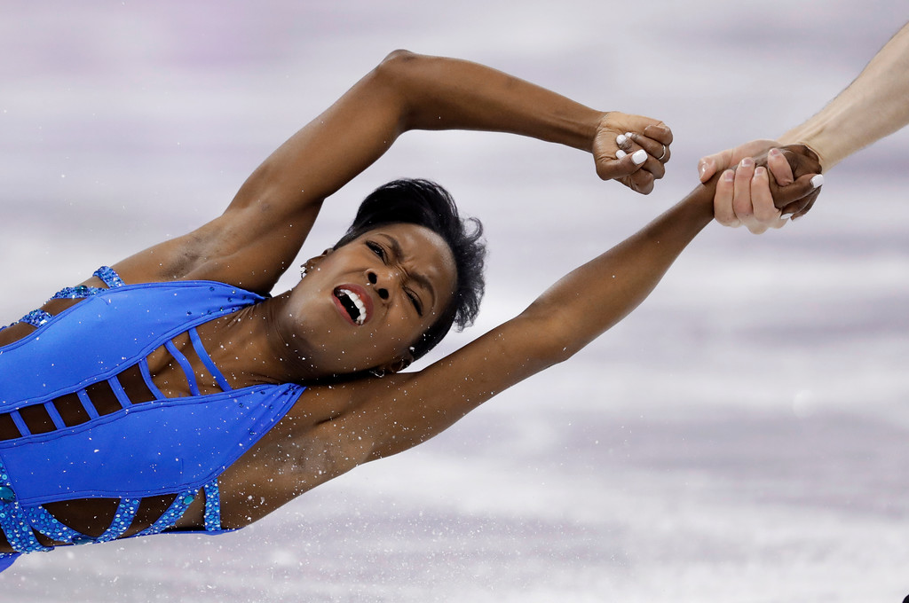 . Vanessa James and Morgan Cipres, of France, perform in the pair figure skating short program in the Gangneung Ice Arena at the 2018 Winter Olympics in Gangneung, South Korea, Wednesday, Feb. 14, 2018. (AP Photo/Bernat Armangue)