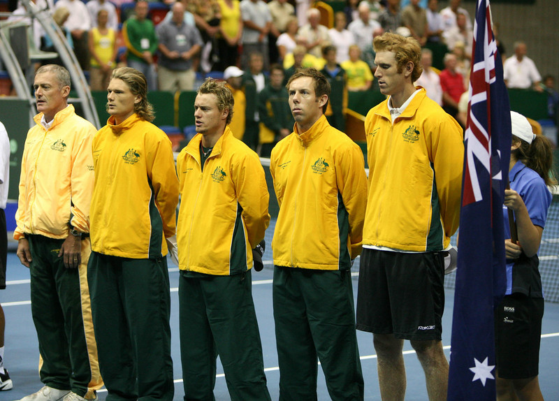 11 April 2008 Townsville, Qld, Australia - The Australian team line up for the Australian anthem at the opening of the Davis Cup tie against Thailand - Photo: Cameron Laird (Ph: 0418 238811)