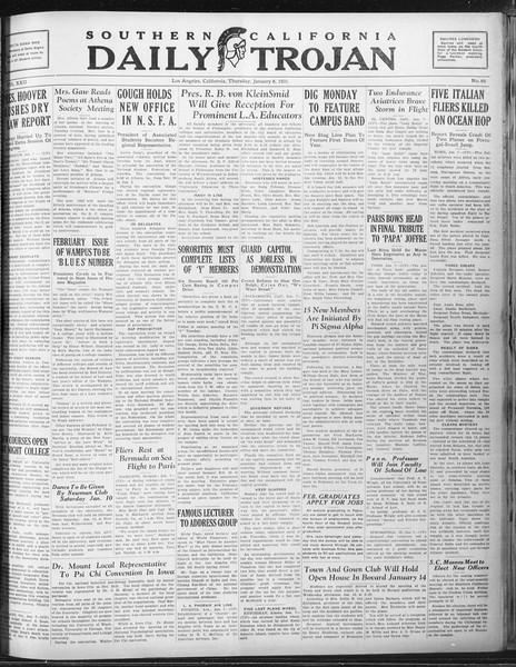 Daily Trojan, Vol. 22, No. 69, January 08, 1931