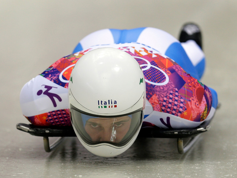 . Maurizio Oioli of Italy starts his first run during the men\'s skeleton competition at the 2014 Winter Olympics, Friday, Feb. 14, 2014, in Krasnaya Polyana, Russia. (AP Photo/Natacha Pisarenko)