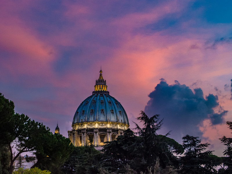 Sunset from Vatican Museum with Basilica San Pietro