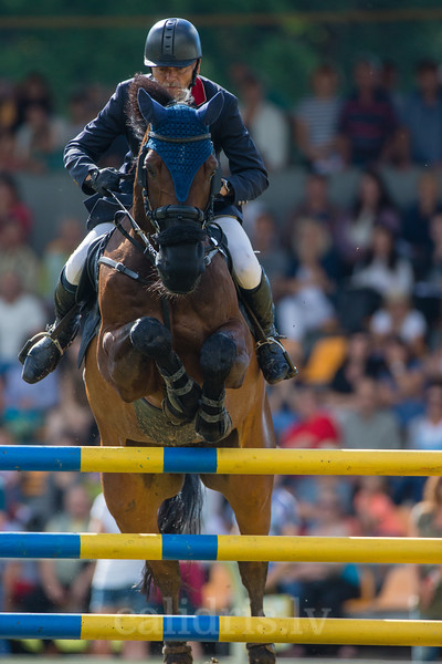 Zigmantas SARKA (LTU) with the horse CASHMAN, World Cup competition, Grand Prix Riga, CSI2*-W, CSIYH1* - Riga 2016, Latvia