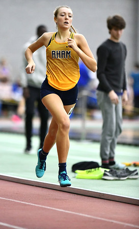2/1/2020 Mike Orazzi | StaffrRHAM High School's Edith Walker in the 600 meter run during the CCC Indoor Track & Field Championships at the Floyd Little Athletic Center in New Haven on Saturday. r