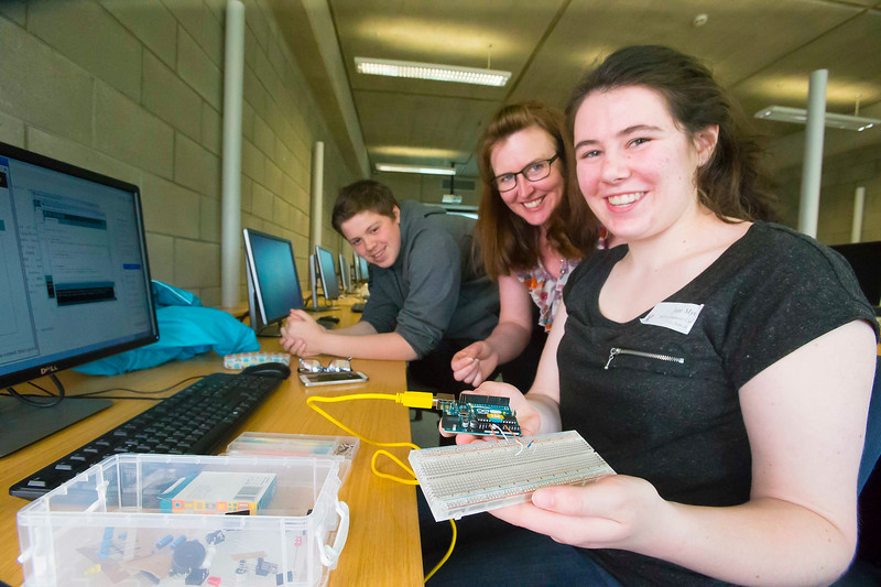 """FREE TO USE IMAGE. WIT Summer Camp. Pictured at WIT Waterford Institute of Technology at the """"Internet of Things"""" workshop is Aileen Drohan of SEMS The South East Makerspace and Khaled Iza from Tramore and Jane Myres from Waterford. Picture: Patrick Browne  Students who will be sitting the Leaving Cert in June 2017 get to grips with the Internet of Things at Waterford Institute of Technology's HEA-funded summer camp for 5th year students which ran over four days from Tuesday, 7 June to Friday, 10 June. The range of disciplines students got to try out include: 3D Animation, Build a computer workshop, Coding, Internet of Things, Audio and Video Development, Web Development, Games Development and Virtual Reality.  Last year WIT added an Internet of Things 4-year Level 8 course to its suite of undergraduate Computing courses. See www.wit.ie/cao."""