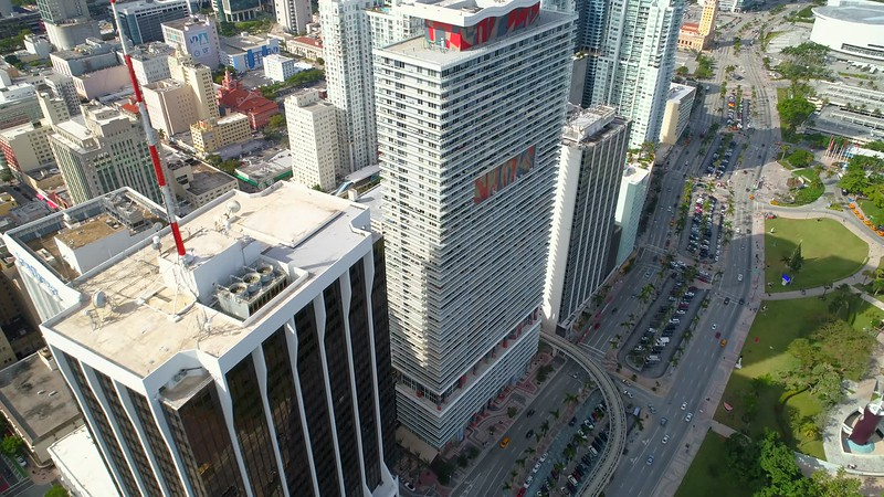 Aerial facing down shot Downtown Miami FL 4k