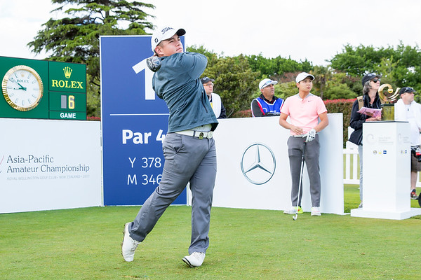 Brentt Salas from Guam hitting off the 1st tee on Day 1 of competition in the Asia-Pacific Amateur Championship tournament 2017 held at Royal Wellington Golf Club, in Heretaunga, Upper Hutt, New Zealand from 26 - 29 October 2017. Copyright John Mathews 2017.   www.megasportmedia.co.nz