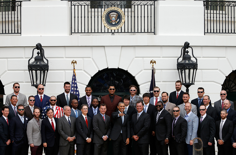. U.S. President Barack Obama poses for a group photo with the Boston Red Sox during a ceremony on the South Lawn of the White House to honor the 2013 World Series Champions April 1, 2014 in Washington, DC. The Red Sox defeated the St. Louis Cardinals in the 2013 World Series.  (Photo by Win McNamee/Getty Images)