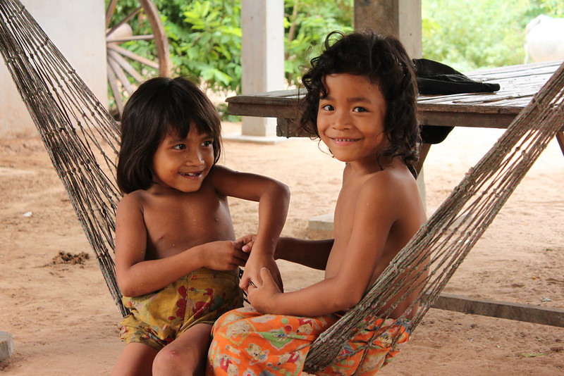 Ox cart owner's daughters hanging out