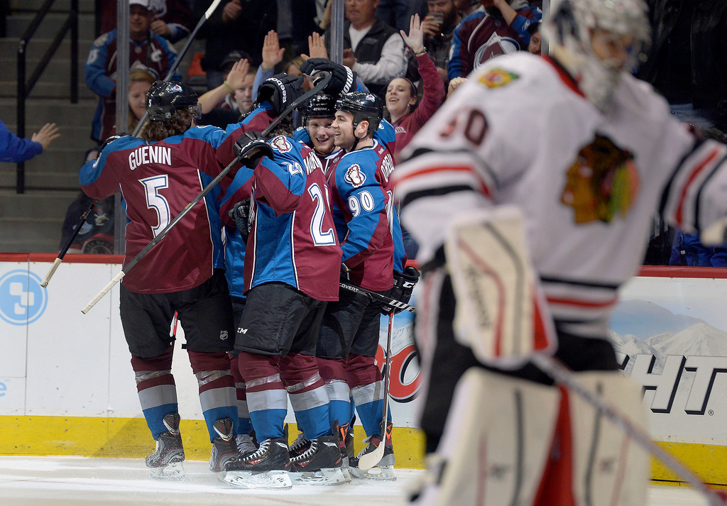 . Colorado Avalanche left wing Gabriel Landeskog (92) is congratulated by teammates after his goal in the first period agains the Chicago Blackhawks November 19, 2013 at Pepsi Center. (Photo by John Leyba/The Denver Post)