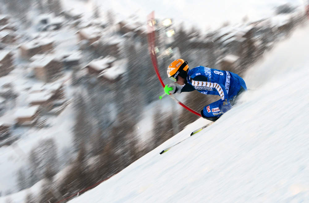 Description of . Jens Byggmark of Sweeden skis in the first run of the FIS Alpine World Cup Men's Slalom on December 8, 2012in Val d'Isere, French Alps. AFP PHOTO / FRANCK  FIFE/AFP/Getty Images