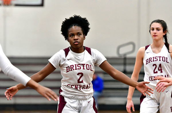 1/30/2020 Mike Orazzi | Staff Bristol Central's Damani Hough (2) during Thursday night's girls game with Manchester in Bristol.