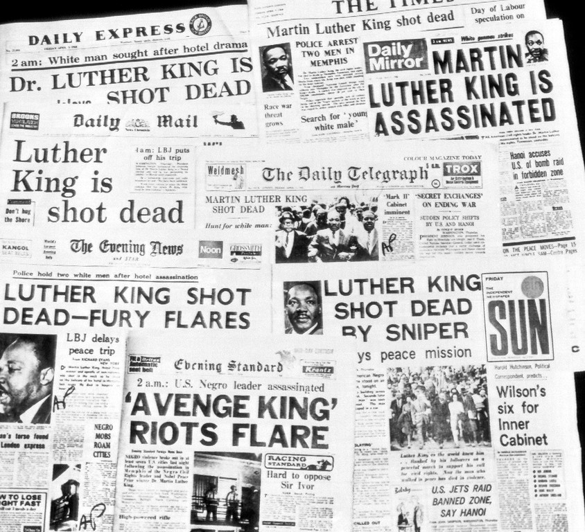 . This is how the morning newspapers in London headlined the assassination of Dr. Martin Luther King, April 5, 1968. (AP Photo)