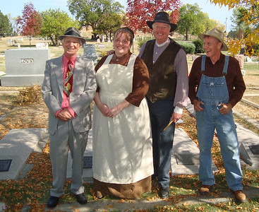 Posing for this photo while taking brief leave from their resting places in the background are members of the Lown family: Ernie, Clara, William, and Brownie.  They have strong resemblances to contemporary actors Tim Molseed, Bobbi Sago, Randy Bender, and Rand Williams.