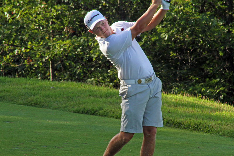 Sebastian Cappelen of Odense, Denmark sends a tee shot towards his target during the quarterfinals of the 111th Western Amateur at The Alotian Club in Roland, AR. (WGA Photo/Ian Yelton)