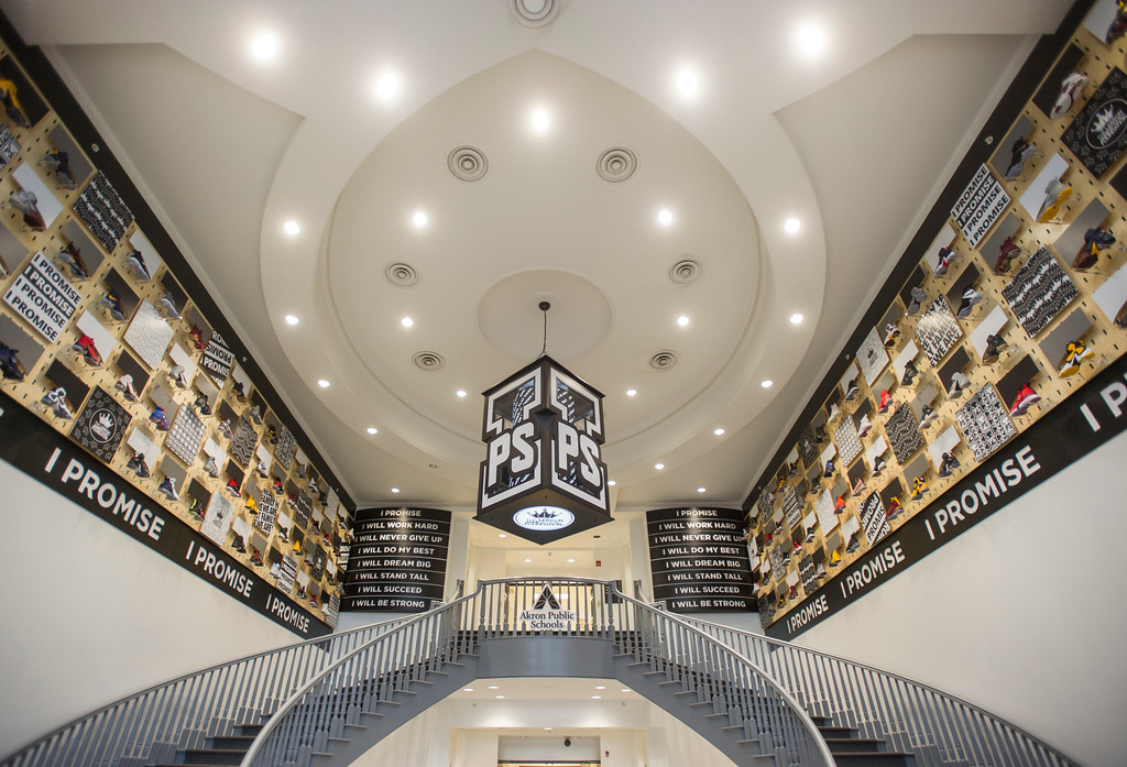 . The lobby of the I Promise School, a new Akron Public School funded by the LeBron James Family Foundation has a display of LeBron shoes in the lobby and is shown in Akron, Ohio, Monday, July 30, 2018. (AP Photo/Phil Long)