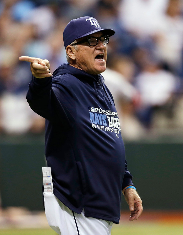 . Tampa Bay Rays manager Joe Maddon signals to the bullpen for a pitcher to relieve Jamey Wright in the third inning in Game 4 of an American League baseball division series against the Boston Red Sox, Tuesday, Oct. 8, 2013, in St. Petersburg, Fla. (AP Photo/Chris O\'Meara)