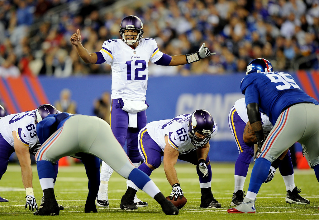 . EAST RUTHERFORD, NJ - OCTOBER 21: Quarterback Josh Freeman #12 of the Minnesota Vikings calls a play against the New York Giants during a game at MetLife Stadium on October 21, 2013 in East Rutherford, New Jersey.  (Photo by Maddie Meyer/Getty Images)