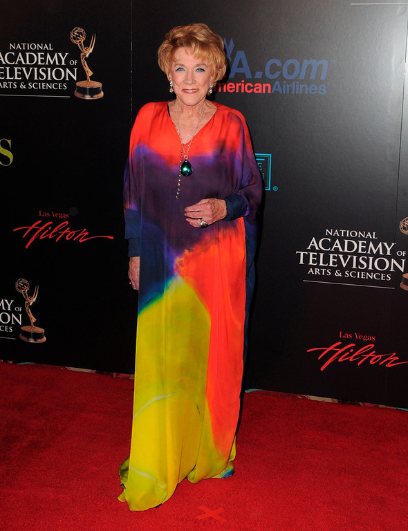 ". In this June 27, 2010 file photo, Jeanne Cooper arrives at the 37th Annual Daytime Emmy Awards at Las Vegas Hilton in Las Vegas, Nevada.  CBS says the soap opera star has died. She was 84.  Cooper played grande dame Katherine Chancellor on CBS\' ""The Young and the Restless\"" for nearly four decades. (Photo by Jordan Strauss/Invision/AP Images, File)"