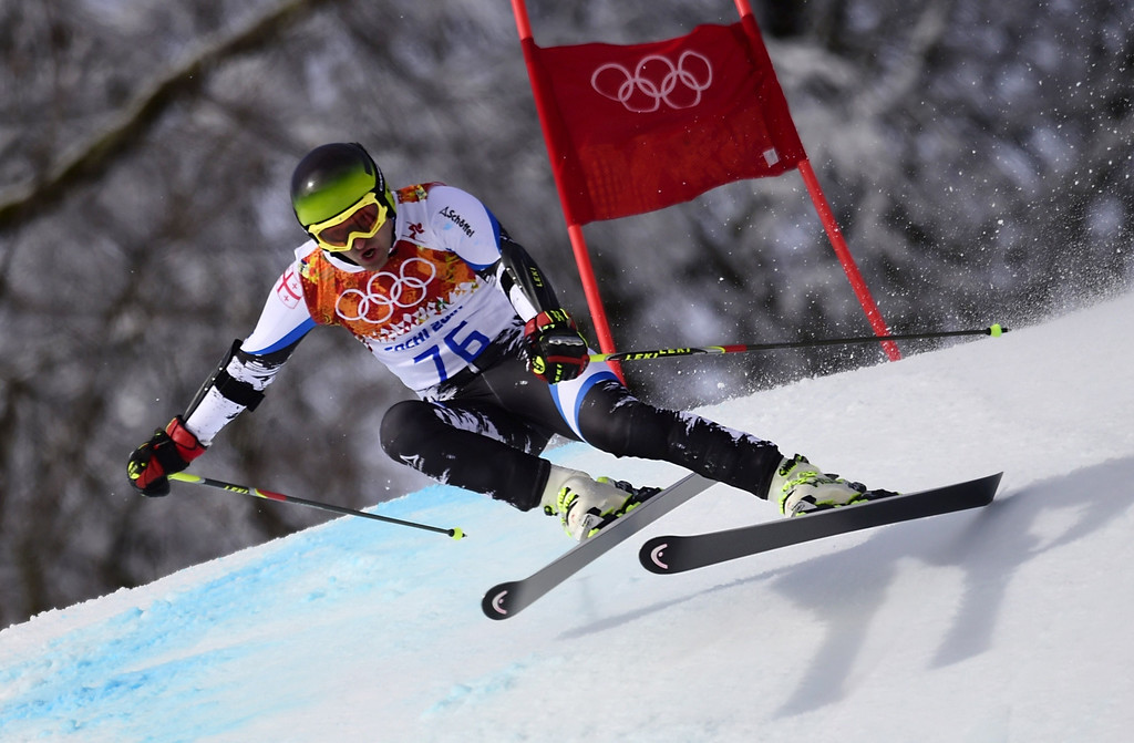 . Georgia\'s Iason Abramashvili competes in the Men\'s Alpine Skiing Giant Slalom Run 1 at the Rosa Khutor Alpine Center during the Sochi Winter Olympics on February 19, 2014.  AFP PHOTO / OLIVIER  MORIN/AFP/Getty Images