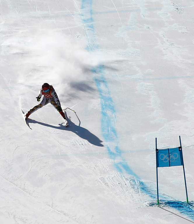 . Czech Republic\'s Ester Ledecka competes in the women\'s super-G at the 2018 Winter Olympics in Jeongseon, South Korea, Saturday, Feb. 17, 2018. (AP Photo/Christophe Ena)