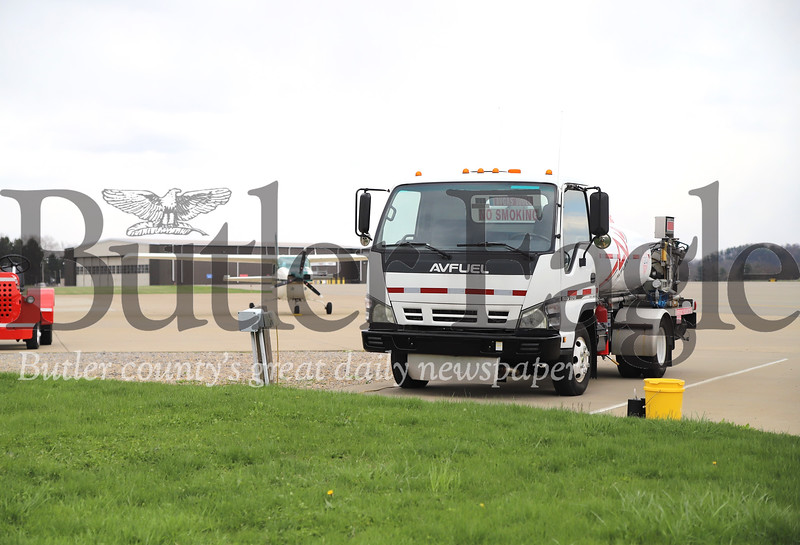 A fuel truck sits at the ready at Butler Airport. Seb Foltz/Butler Eagle 04/16/20