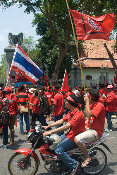 A small crowd of protesters in Red Shirt Protest in Thailand
