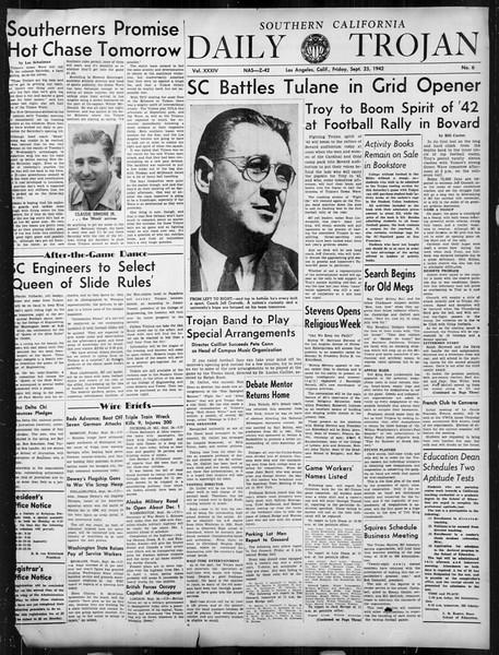 Daily Trojan, Vol. 34, No. 6, September 25, 1942