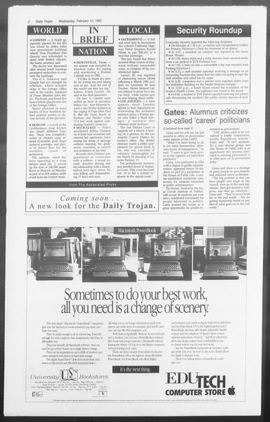 Daily Trojan, Vol. 117, No. 20, February 12, 1992