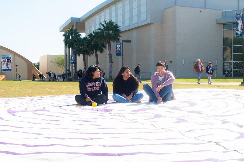 Reina Ochoa(left), Julia Pina, and Randall Sanchez at Ladyrinth Walk.
