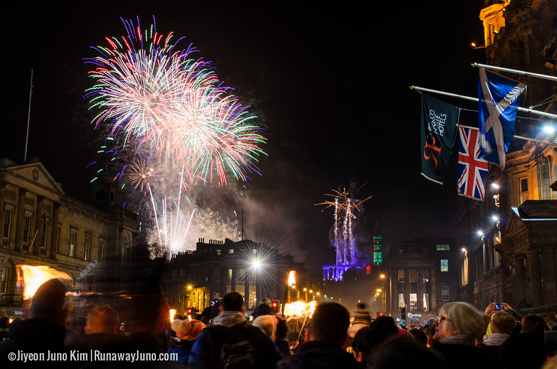 Fireworks at Edinburgh's Hogmanay Torchlight Procession 2014/15