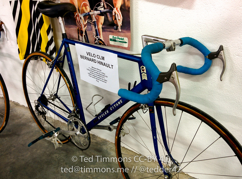 "Classic Hinault bike. It's an ""aero"" time trial bike, note the brake cables are hidden."