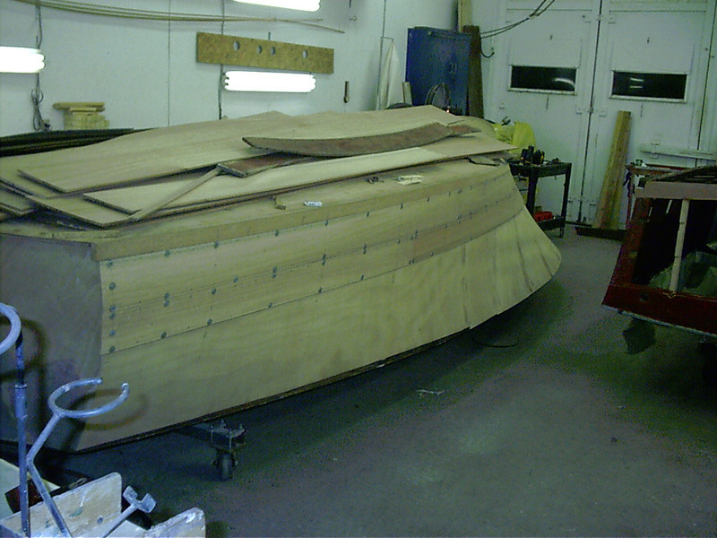 Rear view of two port side planks fit.