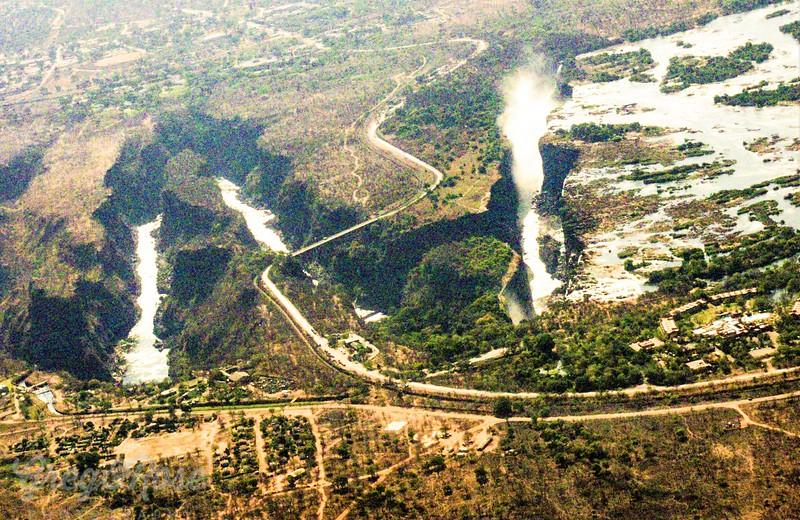 Air shot of the Victoria Falls
