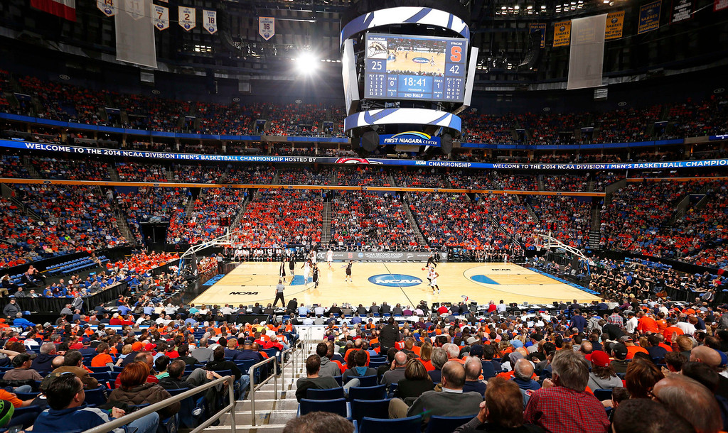 . Fans watch during the second half of a second-round game between Syracuse and Western Michigan in the NCAA college basketball tournament in Buffalo, N.Y., Thursday, March 20, 2014. (AP Photo/Bill Wippert)
