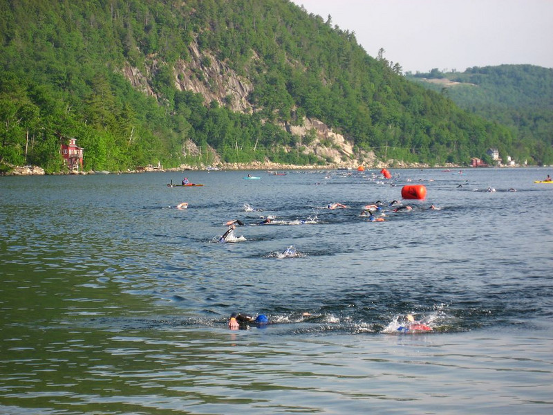 Swimmers on the final leg, coming into the finish