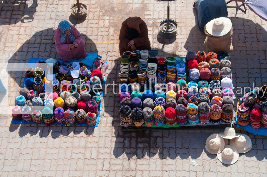 Market stall in the busy market in Medina district, Marrakech, Morocco