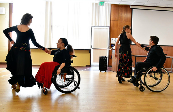 1/11/2020 Mike Orazzi | Staff Fred Astaire dancers Joanne Nelson, Thalia Almeida, Heather Dillon and Jonathan Slifka perform during Saturday's Disability Expo held at the Hospital for Special Care Research and Education Center located on 370 Osgood Ave in New Britain.
