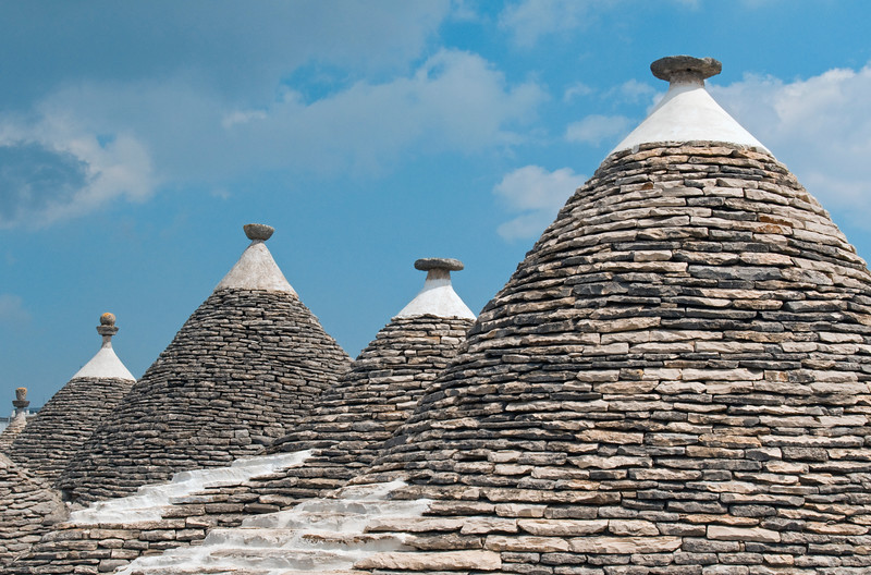 Group of Trulli, Traditional Apulian Stone Dwellings with Conical Roofs, Alberobello, Bari province, Puglia region, Italy