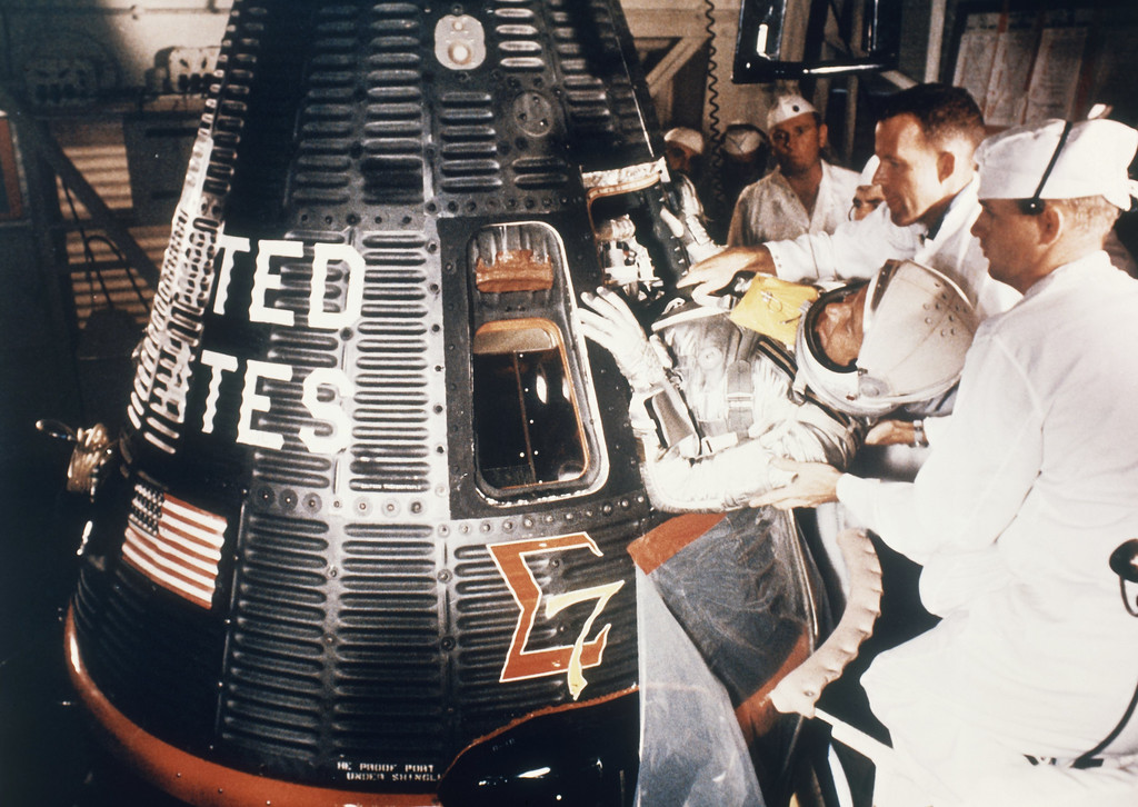 . Astronaut M. Scott Carpenter in space suit about to enter Aurora 7 space capsule in May 1962. (AP Photo)